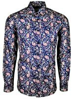 MENS-PAISLEY PARTY CASUAL DRESS PRINTED COTTON SHIRT IN MOD 60s ( NAVY-478 )