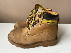 CATERPILLAR Boys Tan Leather Desert Boots Size 11