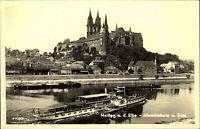 Meißen DDR 1954 Blick über die Elbe Albrechtsburg und Dom Elbe Raddampfer Schiff