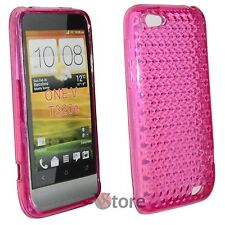 Cover for HTC ONE V Fuchsia Diamond Silicone Gel + Display Film