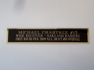 Michael Crabtree Raiders Nameplate For A Signed Football Jersey Case 1.5 X 8