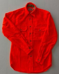 Blaze Orange Cabela's Vintage Hunting Shirt Rod and Rifle Label Size Small