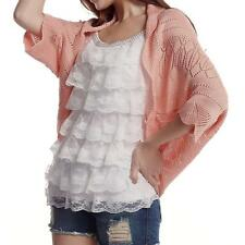 Casual Women's Batwing 3/4 Sleeves Thin Knit Cardigan Shrug Cover Up Top