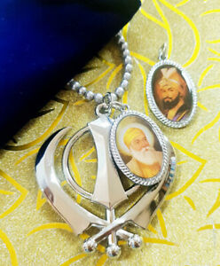 Sikh Khanda Pendant for Rear View Mirror with Picture