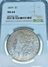 1879 MORGAN SILVER DOLLAR GRADED MS64 BY NGC PROOF LIKE OBVERSE & HINT COLOR