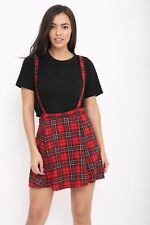 RED TARTAN with SILVER GLITTER PRINT SKIRT WITH DETACHABLE BRACE'S SIZES 8-20