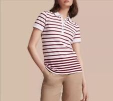 Burberry ausa short sleeve striped polo womens white red