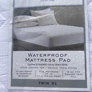 NEW Wamsutta Cotton Twin XL Waterproof Mattress Pad White Luxury