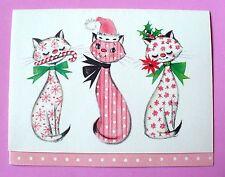 VINTAGE HALLMARK CHRISTMAS CUTE PRINT CATS TRIO UNUSED GREETING CARD W/ENVELOPE
