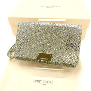 Jimmy Choo Pouch Bag Silver Woman Authentic Used Y2238