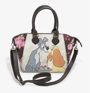new Loungefly Disney Lady and the Tramp floral satchel bag dogs official