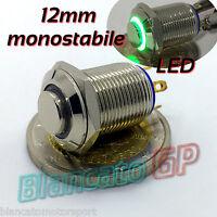PULSANTE SPST 12mm MONOSTABILE LED DC VERDE ottone cromato illuminato unipolare