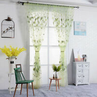 Leaf Pattern Tulle Voile Door Window Curtain Drape Panel Sheer Scarf Divider Q