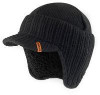 Scruffs Peaked Beanie Hat Black Insulated Warm Thermal Winter Stylish Peak Cap