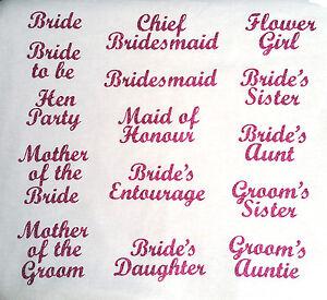 wedding bridesmaid transfer iron on t shirt hen party fuschia pink glitter patch