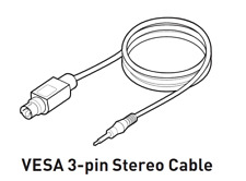 VESA 3-pin 3D Sync Stereo Cable for NVIDIA 3D Vision 1/2 Kits DLP 3D Projectors