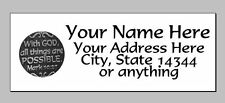 "30pcs Personalized BibleVerse Return/Mailing Address labels 1""x2.625"" Free S/H"