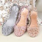 Women Girls Slip On Sliders Flat Diamante Sandals Jelly Mesh Comfy Shoes Sizes