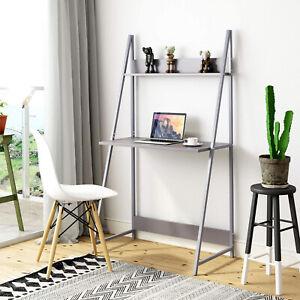 Corner Computer Desk Wood Ladder PC Laptop Writing Table with Shelf Storage Grey