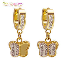 Small Clear Round Cubic Zircon Gold Plated Lady Link Butterfly Drop Earrings