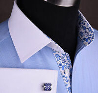 Light Blue Herringbone Business Formal Shirt White Contrast French Cuffs Collar