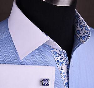 Light Blue Herringbone Business Formal Shirt White Contrast French Cuffs Collar