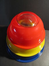 3 PYREX MIXING BOWLS - CLEAR BOTTOM  PRIMARY COLORS - BLUE - YELLOW AND RED