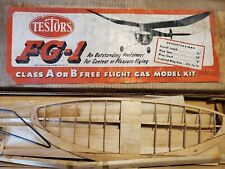 "Vintage Testors FG-1 Airplane Kit Balsa 50"" Wingspan Plane Free Flight"