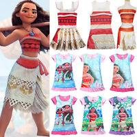 Girls Kids Moana Costume Hawaiian Princess Fancy Dress Cosplay Party Outfit Set