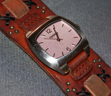 Fossil Women's Wide Brown Appliques Leather Square Pink Dial Watch NEW BATT