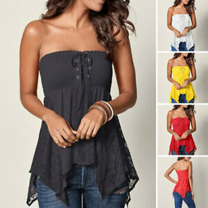 Womens Lace Up Boob Tube Tops Ladies Strapless Sexy Beach Casual T-Shirt Blouse