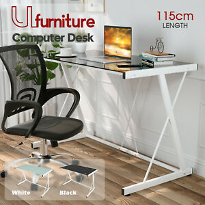 X-shape Tempered Glass Computer Desk PC Laptop Student Table Home Office Study