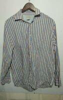 Banana Republic Mens Button Front Shirt Size Large L Long Sleeve Stripe