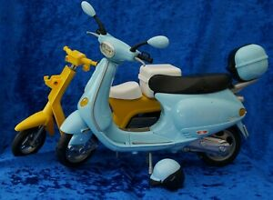 Barbie Vespa Moped Scooter Blue c/w Helmet - Sindy Yellow Scooter - Both Vintage