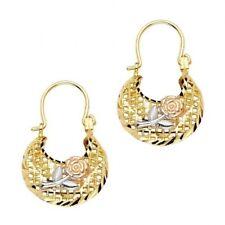 14K Solid Tri-color Three Tone Italian Gold Flower Basket Hoop Earrings, 21MM