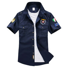 New Mens Casual Double pocket Air Force Military Short Sleeve Dress Shirts KD134