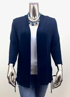 CHICO'S TRAVELERS *NEW 1 (M) NAVY OPEN FRONT LONG SLEEVES RUCHED TIE JACKET
