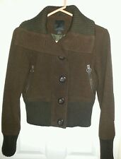 Express XS Brown Long Sleeve Button Down Coat/Jacket Solid Wool Blend