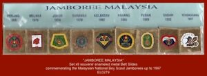Malaysia Boy Scout National Jamborees 1968 to 1997 - 9x Metal Belt Slides