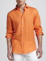 Mens Neiman Marcus Orange Linen Shirt Long Sleeves! Size M