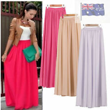 Chiffon Solid Maxi Skirts for Women