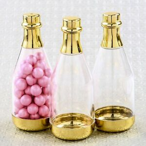 12 Gold Champagne Plastic Candy Boxes Wedding Birthday Party Favors MW70027