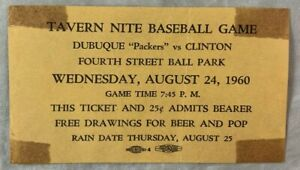 1960 Midwest League Baseball Ticket Dubuque Iowa Packers v Clinton