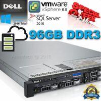 Dell PowerEdge R620 2x Xeon-E5-2620 2.00GHz 12-CORES 96GB DDR3 H710  4x300Gb 10K