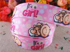 "7/8""22mm BABY GIRL PRINTED PINK GROSGRAIN RIBBON/5YARDS/DIY HAIRBOW/BABY SHOWER"