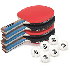 Killerspin 112-02 JETSET Table Tennis Ping Pong Paddles with 6 Balls, Set of 4