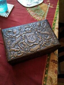 Embossed Wooden Cigarette Box, vintage cigar box, chap