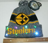 Pittsburgh Steelers Football NFL LED Light Up Hat Winter Pom Beanie Santa Cap