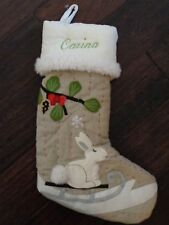 "New Pottery Barn Monogram ""Carina"" Bunny Rabbit Woodland Christmas Stocking"