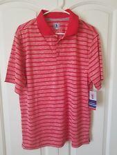Golf America Men's Golf Polo Nwt Medium Red Striped S/S Moisture Wicking Upf-15